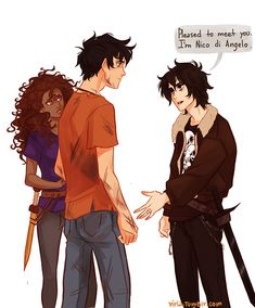 """""""The boy regained his composure and held out his hand. 'Pleased to meet you,' he said. 'I'm Nico di Angelo'."""" SoN. makes me so happy viria is reading Heroes of Olympus"""
