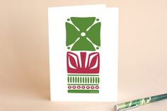 Green Nordic Flower A7 Card by Kristiina Almy at minted.com