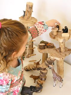 DIY wooden treehouse (for animals and dolls) from things you'd find in your back yard!!