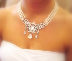 Bridal necklace, pearl necklace, wedding jewelry with Swarovski crystal pendant and Swarovski pearls, statement necklace on Etsy, $115.00