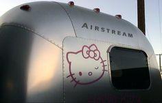 Hello Kitty Airstream.   Rear exterior.