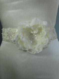 Ivory Bridal Flower Sash Wedding Flower by BridalWorldAccessory