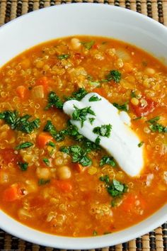 Curried Red Lentil Soup with Chickpeas and Quinoa - veggie broth, no yogurt