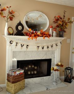 """Give thanks"" burlap banner and fall mantel"