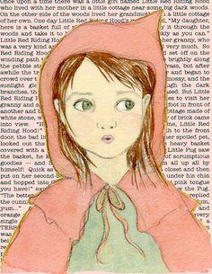 Little Red Riding Hood print, Fairytale Nursery Decor, Childrens Wall Art, Kids Room Art