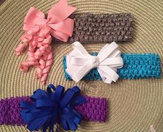 Set of 3 child headbands grosgrain ribbon bows pink purple grey blue white bows dress up photo shoot birthday every day wear by CreationsbySAHM on Etsy https://www.etsy.com/listing/232306778/set-of-3-child-headbands-grosgrain