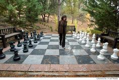 Giant chessboard between Villa du Sureau Spa du Sureau, #California and a private villa.   http://www.sfgate.com/entertainment/article/WINTER-IN-THE-SIERRA-FINE-DINING-ELEGANT-2510175.php#photo-2684888