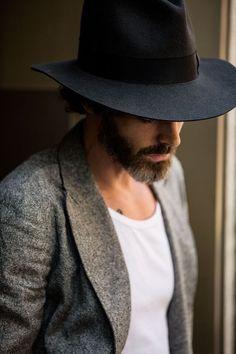 Beard, hat, blazer… masculine #mens #style