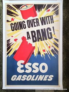 """1950 ESSO GASOLINES """"With a BANG!"""" Cars Original Vintage Auto Advertising Poster"""