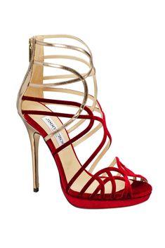 Jimmy Choo banded criss-cross high-heeled saddles