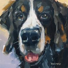 """Daily Paintworks - """"Vedder the Bernese Mountain Dog"""" - Original Fine Art for Sale - © Cathleen Rehfeld"""