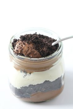 Dirt cakes  1 pkg oreo cookies 1 serving of chocolate mousse stable, whipped vanilla cream