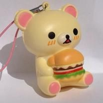 Korilakkuma Squishy is holding a hamburger.  This is a supper Kawaii (cute) and very rare  squishy with a stretchy cell phone strap.  Can hang from anything such as a phone, backpack, bag, purse.  So cute. Give as a gift to a Kawaii collector or keep for yourself.  Check out my goodstandings and long term relations with EBAY at http://myworld.ebay.com/hrt3hrt/ and on ETSY at https://www.etsy.com/feedback/received