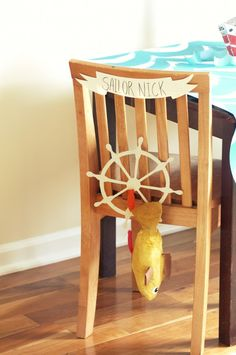 I made banners for the chairs with my sailors' names and hung paper mache fish, sailing cutouts and Swedish Fish to decorate. Craft Party, Diy Party, Cruise Theme Parties, Sailing Party, Birthday Chair, Sailor Birthday, Paper Boats, Sailor Theme, Party World