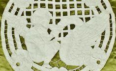 Divine Antique French Richelieu Lace Panel, Winged Cherub & Griffin C1900 - B836    eBay