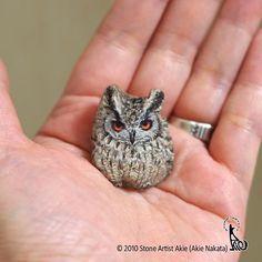 Eagle owl painted on natural shape stone