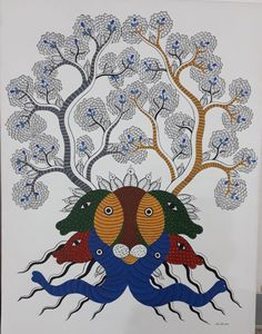 Tribes In India, Gond Painting, Vivid Colors, Colours, Indian Folk Art, Hibiscus Flowers, Source Of Inspiration, Tribal Art, Still Image