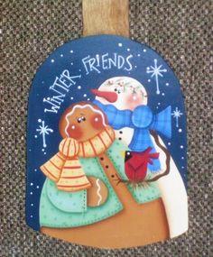 Winter Friends  Handpainted Shovel by stephskeepsakes on Etsy, $18.99