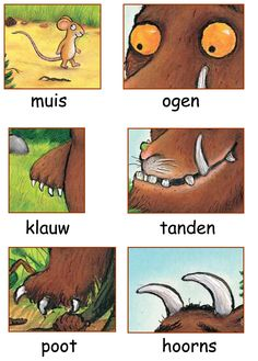 Woordkaarten: De Gruffalo 2/2 Play School Activities, Gruffalo Activities, Gruffalo Party, The Gruffalo, Book Activities, Monster Co, Story Sack, English For Beginners, Kindergarten Books