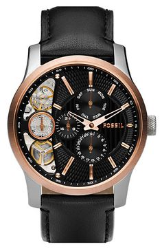 Fossil Men's Black Leather Strap Textured Black Cutaway Analog Dial Chronograph Watch (Watch)By Fossil Fossil Watches For Men, Fine Watches, Cool Watches, Men's Watches, Dress Watches, Stylish Watches, Luxury Watches, Black Leather Watch, Bracelet Cuir
