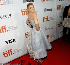 Chloe Grace Moretz in a blue Dior dress at the 'Equalizer' Toronto International Film Festival premiere