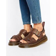 Dr Martens Hayden Grunge Tan Leather T-Bar Flat Sandals