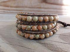 Triple Beaded Leather Wrap Bracelet  Autumn Jasper by GSJewelry, $28.50