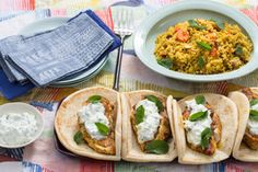 Spiced Chicken Pitas & Couscous with Carrots, Dates & Cucumber-Yogurt Sauce