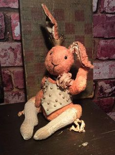 """A Little Burlesque Bunny By Drakestone Attic Bears - UP FOR YOUR CONSIDERATION TODAY AND LOOKING FOR HER FOREVER HOME IS A FANTASTIC *PRIMITIVE FOLK ARTIST VERY WORN/LOVED SWEET LITTLE BURLESQUE BUNNY JUST PERFECT FOR ANY COLLECTION.. AT 12"""" TALL SHE IS THE PERFECT SIZE FOR AN OLD SHELF.. SHE IS MADE FROM A VISCOSE FABRIC AND COMPLETELY HA..."""
