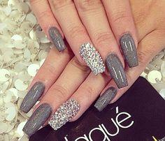 Gray glitter & Rhinestones