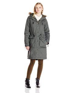 d75bcd2e6079 ILSE JACOBSEN Womens Parka 01 Fur Trim Grey Large -- Click image for more  details