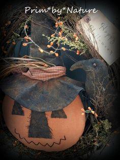 Primitive Halloween Jack-O-Lantern Witch Pumpkin and Crow Wreath