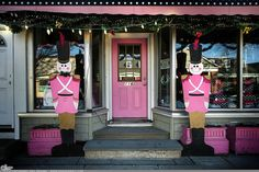 "Picture-A-Day (PAD n.2717) ""116 Main""  Pink soldiers stand guard... prints and more: http://www.dangrabbit.com/photography/pad/12_25_116main  . . . . . . .  Fineart photography - roadside soldiers - Christmas decorations - by Amy​ DangRabbit Medina"