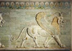 The artists of the Achaemenian period inherited a pictorial vocabulary rich in mythological creatures. The griffin-lion, often represented at Susa, is here pictured on an element of architectural decoration from the palace of King Darius I the Great (522-486 BC).