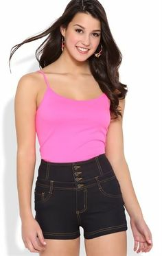 Deb Shops High Waisted Short with Three Button Waistband $19.90