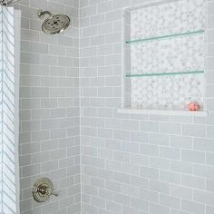 Inn at The Little Pond - Gorgeous shower features drop-in tub with mini beveled subway tile shower surround and tiled shower niche as well as vintage exposed plumbing shower kit. Brick Tile Shower, Tile Shower Niche, Subway Tile Showers, Tile Floor, Glass Subway Tile Backsplash, Beveled Subway Tile, Grey Subway Tiles, Glass Tiles, Kitchen Tile