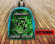 Hello Minecraft With Name Design for School Bag Backpack for Children Small size Middle size Large size