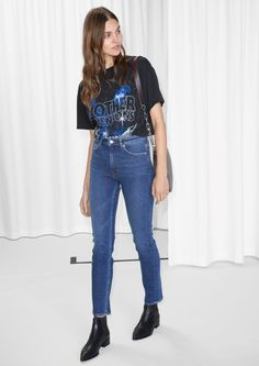 & Other Stories image 2 of Straight Slim Fit Jeans in Blue Dark