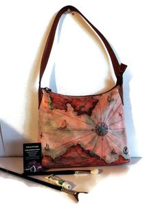 345871a1 Great accessory for the woman who loves to travel!! Hand Painted Leather  Shoulder Bag