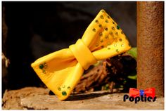 Yellow with green rhinestones leather bow tie by Popties on Etsy, €18.35