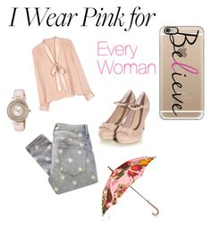 """I wear pink for.."" by straw-berry98 ❤ liked on Polyvore featuring Marc by Marc Jacobs, Alice + Olivia, Ted Baker, Oscar de la Renta and Casetify"