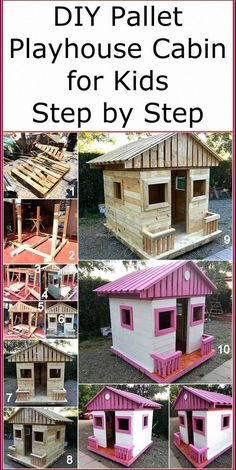 Now reshape the useless boards of wood pallets and craft a useful attractive project on your own. This DIY pallets playhouse cabin is a simple project that anyone can easily craft with the given instructions and step by step pictures in this post. Pallet Playhouse, Build A Playhouse, Playhouse Outdoor, Simple Playhouse, Childrens Playhouse, Diy Pallet Projects, Outdoor Projects, Wood Projects, Pallet Ideas