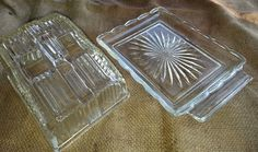 English Vintage 50s Pressed Glass Cheese Dish. Textured Clear Glass. Retro Kitchen | 25