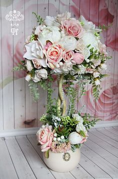 Shabby Chic Home Decor Shabby Chic Crafts, Shabby Chic Homes, Shabby Chic Decor, Paper Flowers Diy, Flower Crafts, Flower Art, Flower Decorations, Wedding Decorations, Topiary Centerpieces