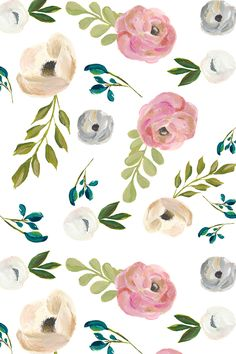 """August Floral in White - 4"""" by shopcabin - Hand printed watercolor flowers in pink, peach, gray, and white on fabric, wallpaper, and gift wrap.  Beautiful soft painterly flowers."""