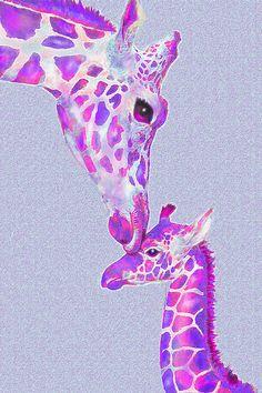 purple giraffe art ~ mother and baby