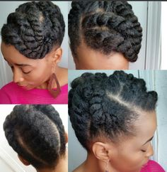 Updo Hairstyles for Natural Black Hair. 34 Inspirational Updo Hairstyles for Natural Black Hair. 50 Cute Updos for Natural Hair Natural Hair Twist Out, Dyed Natural Hair, Natural Hair Care, Natural Hair Styles, Simple Natural Hairstyles, Natural Protective Hairstyles, Flat Twist Styles, Flat Twist Updo, Bun Styles