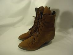 VINTAGE Women's Cowboy Western Fashion Boots Brown Leather USA MADE! sz. 6.5 M