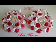 Заколки Канзаши в Красно-Белом цвете с маленькими Розочками. - YouTube