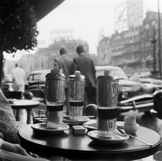 "doyoulikevintage: "" Coffee on a terrace, Brussels, 1946 """